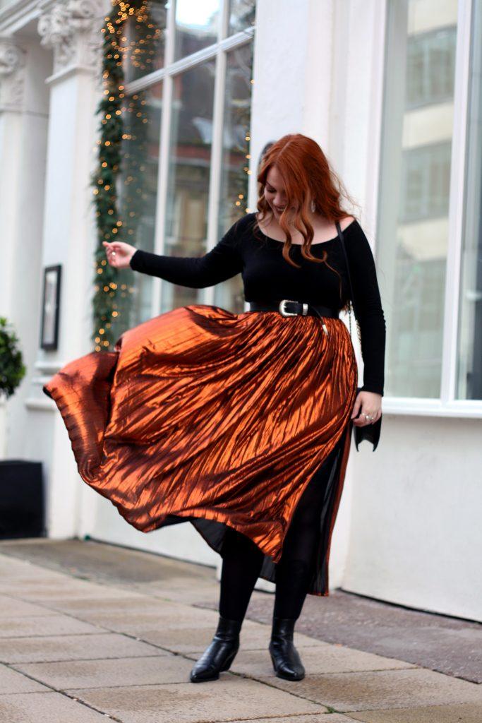 Festive Metallic Nasty Gal Skirt1